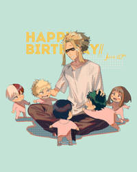 happy birthday All Might by tamomoko