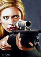 Buffy with Tranquilizer Gun by Dr-Horrible