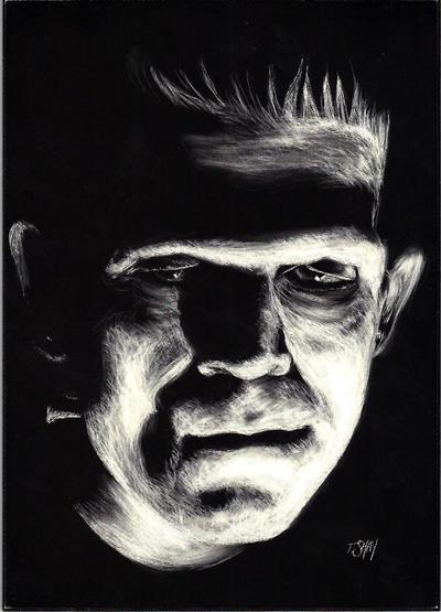 Frankenstein Monster Etching by Dr-Horrible