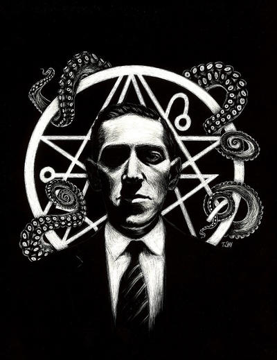 HP Lovecraft Etching by Dr-Horrible