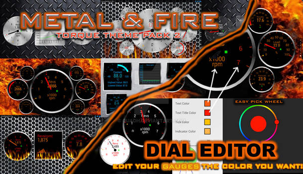Metal and Fire Designs for Torque Pro Android