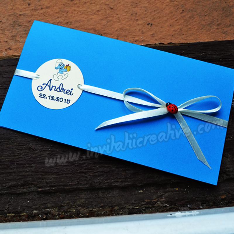Invitatie Handmade Botez Cu Strumfi By Invitatiicreative On Deviantart