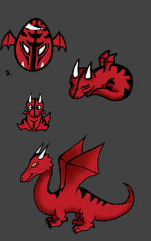 drago chibi, baby, and adult forms