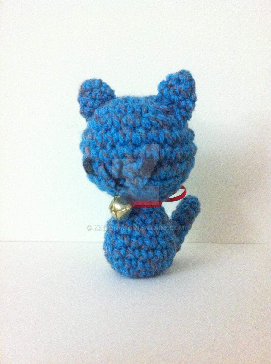 Blue Cat with Bell Amigurumi by MalonB