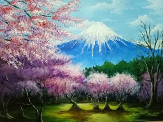 Sakura trees Scenery  by XShion74