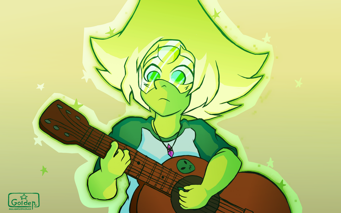 Fanart of one of my favorite gems of Steven Universe. I'm learning to play the guitar and for some reason i wanted drawing Peridot doing it, thank you for watch