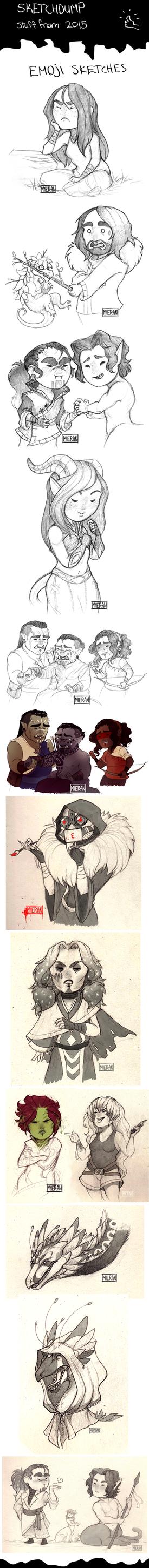 Emoji sketchdump 2015 by TheSnowDragon
