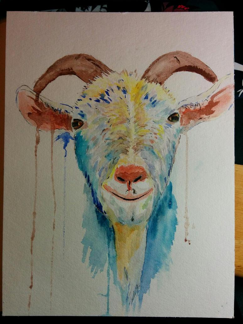 [Watercolor Practice] Goat by Spleko