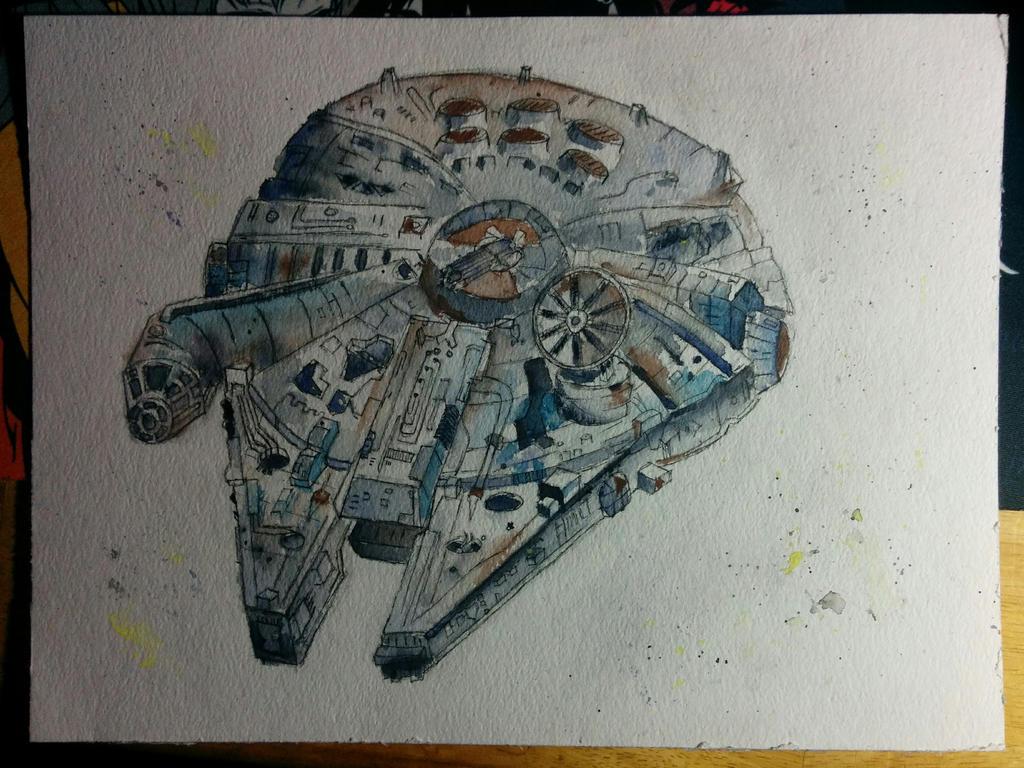 [Watercolor Practice] Millennium Falcon by Spleko