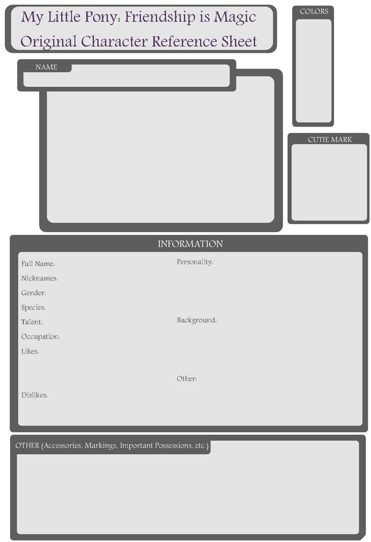 Pony OC  Blank Reference Sheet By OrigamiZombie ...  Blank Reference Sheet