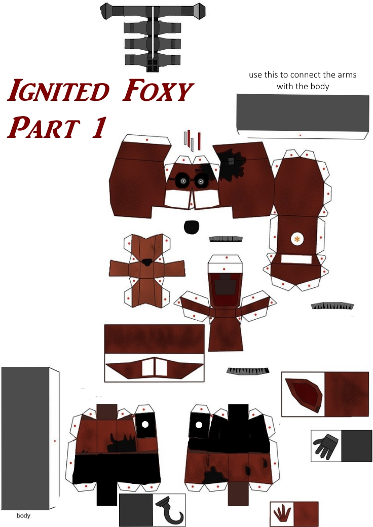ignited foxy papercraft part 1 by papercraft4you