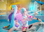 Pool Party Jinx and Sona cosplay