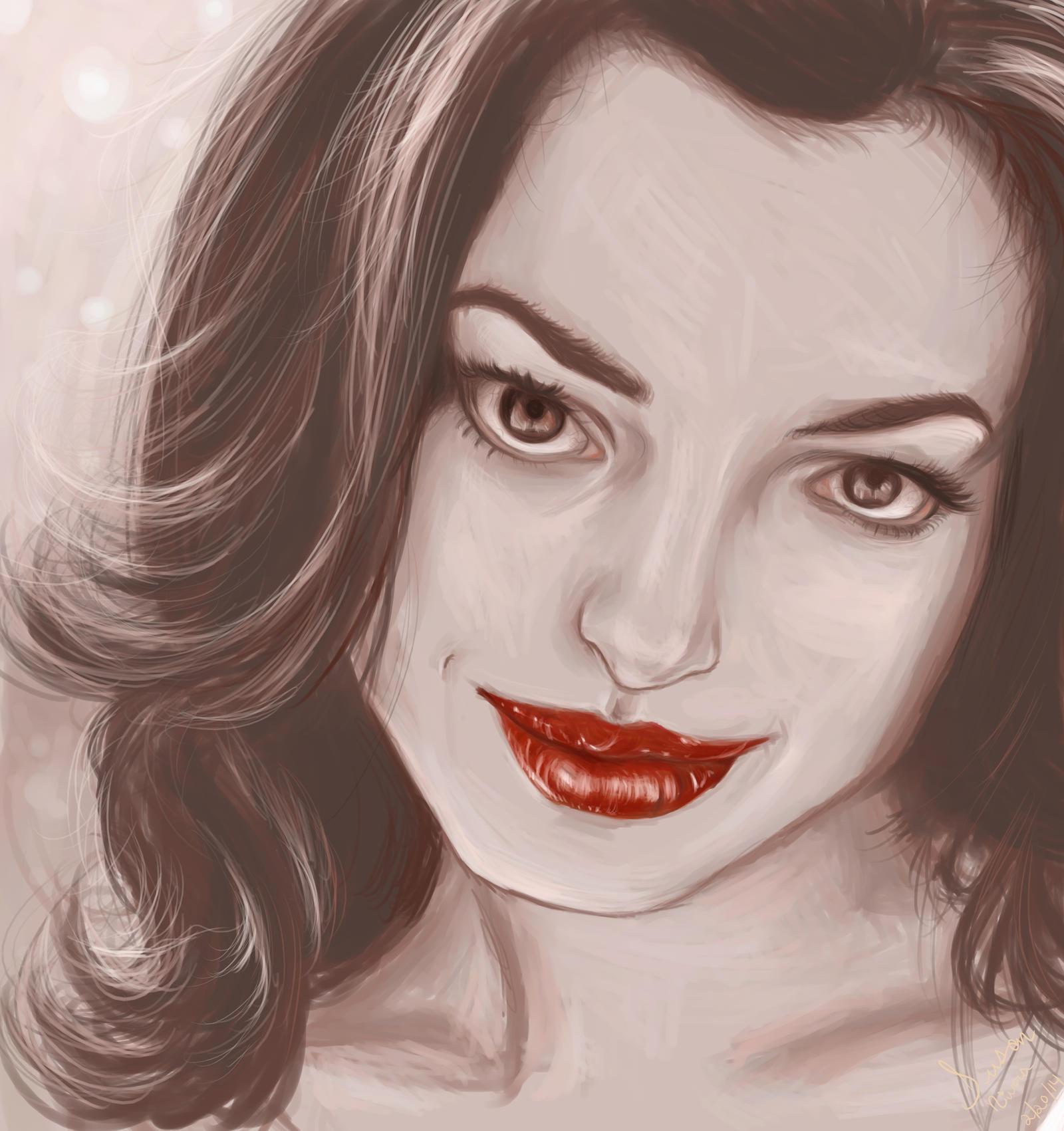 Anne Hathaway Drawing: Anne Hathaway By Artfreaksue On DeviantArt