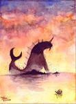 Kaiju in the sunset