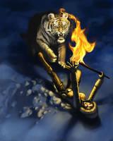 Lara Croft and the tiger by FranRCalas