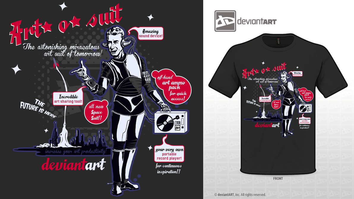 Art-o-suit retro future t-shirt by staxandy