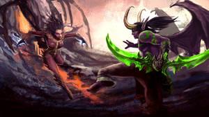 Kerrigan vs Illidan - Heroes Of The Storm by staxandy