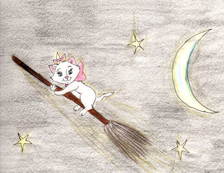 Marie on a broomstick