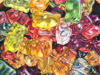 Gummi bears - colored pencil drawing by kad-portraits