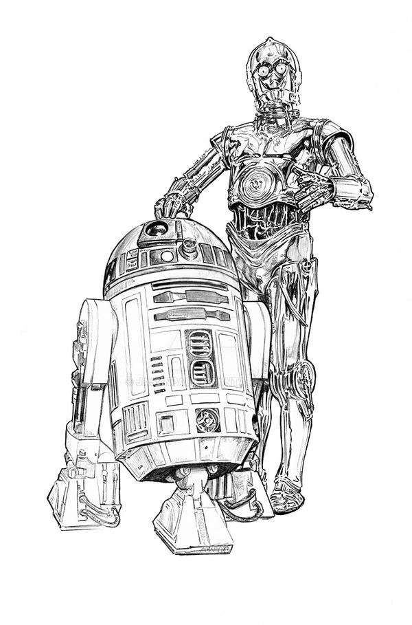 R2d2 And C3po Drawing Artoo and Threepio by ...
