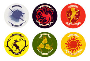 Game of Thrones House Buttons by mayakern