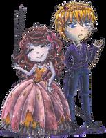 Witch!Nasika and Smoker!Ryo Victorian garb