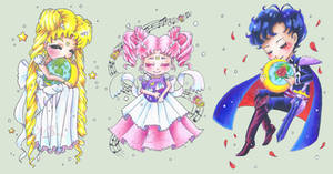 Sailor Moon Chibis [+SpeedArt 2 of 2]