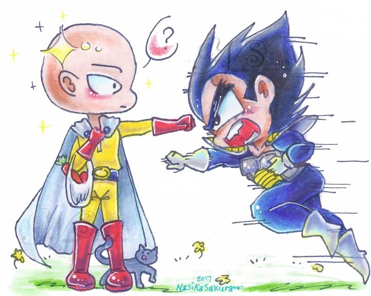 Saitama vs Vegita chibis by NasikaSakura