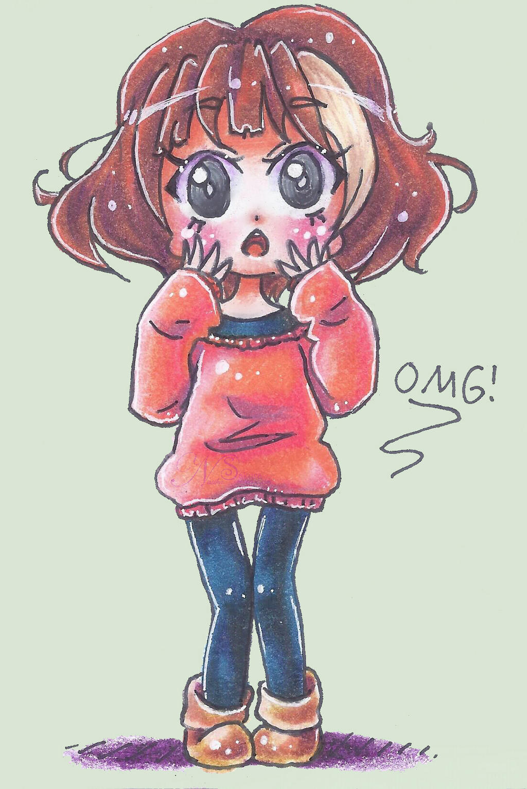 OMG in an Orange Sweater by NasikaSakura