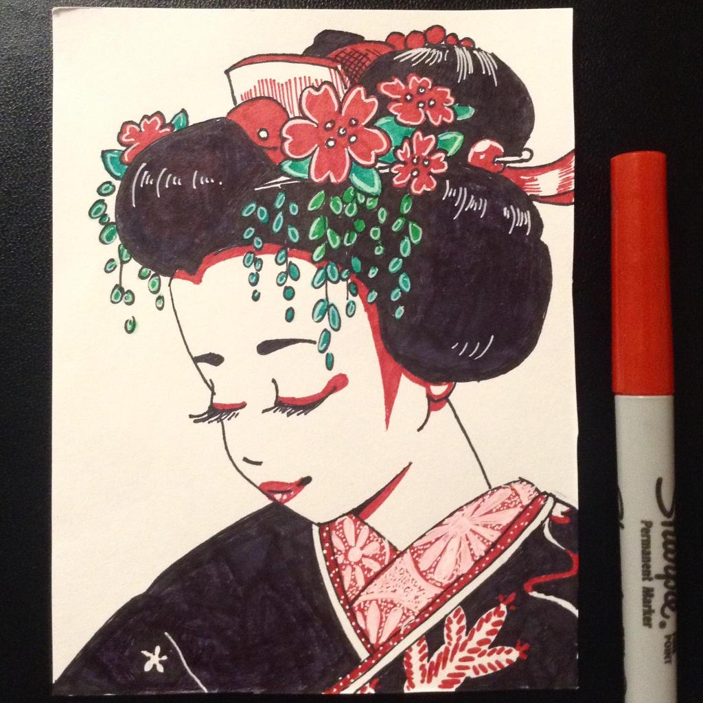 Green Willow Red Blossom Mineko Iwasaki