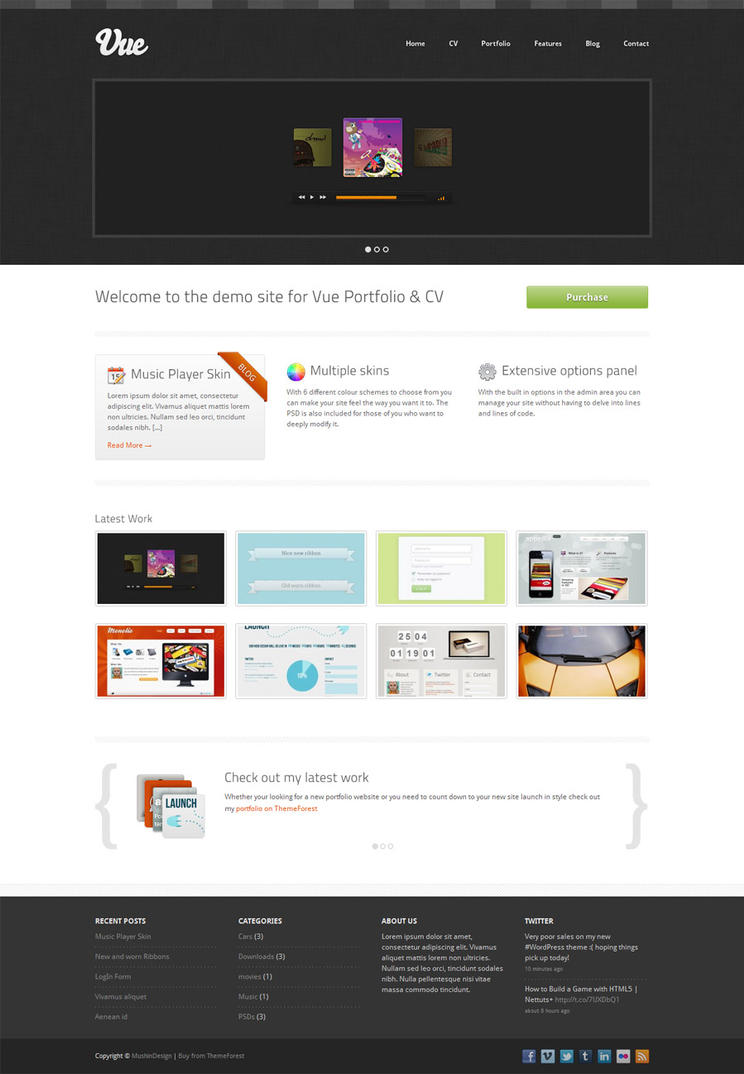 Vue Portfolio WordPress Theme by martin870