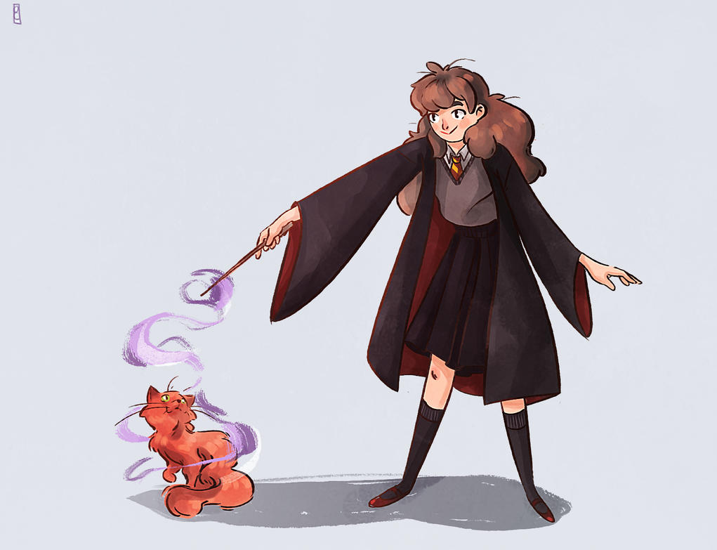 Hermione and Crookshanks by Ophelie-c