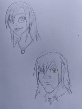 Queen Kairi and Lord Riku Sketches