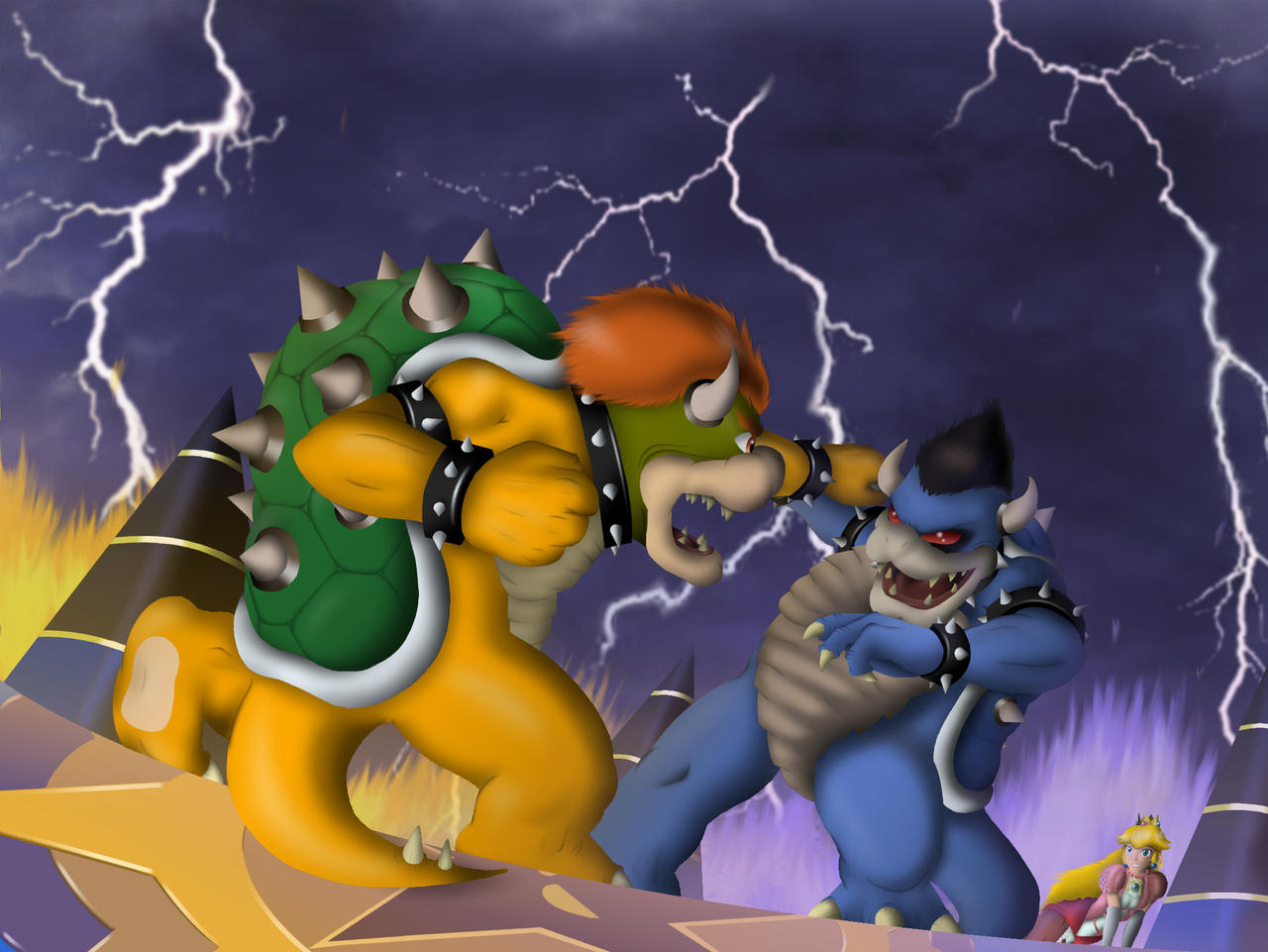 Bowser Vs Dark Bowser by Alienldr1