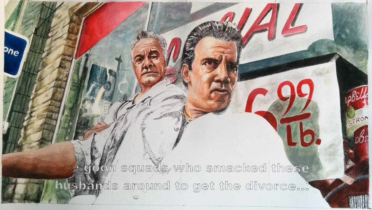 Paulie and Silvio from the Sopranos in Progress by mravey