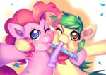 Commission: Green Cracker and PinkiePie
