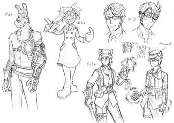 Doodles of OCs from Deus Ex Machina AU by SKY-Lia