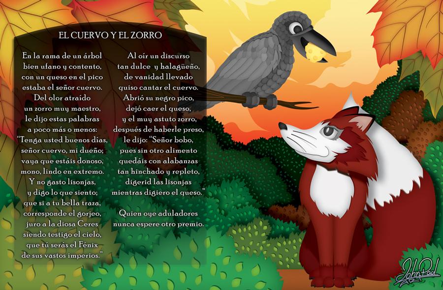 Fabula, el cuervo y el zorro by JohnPaulART