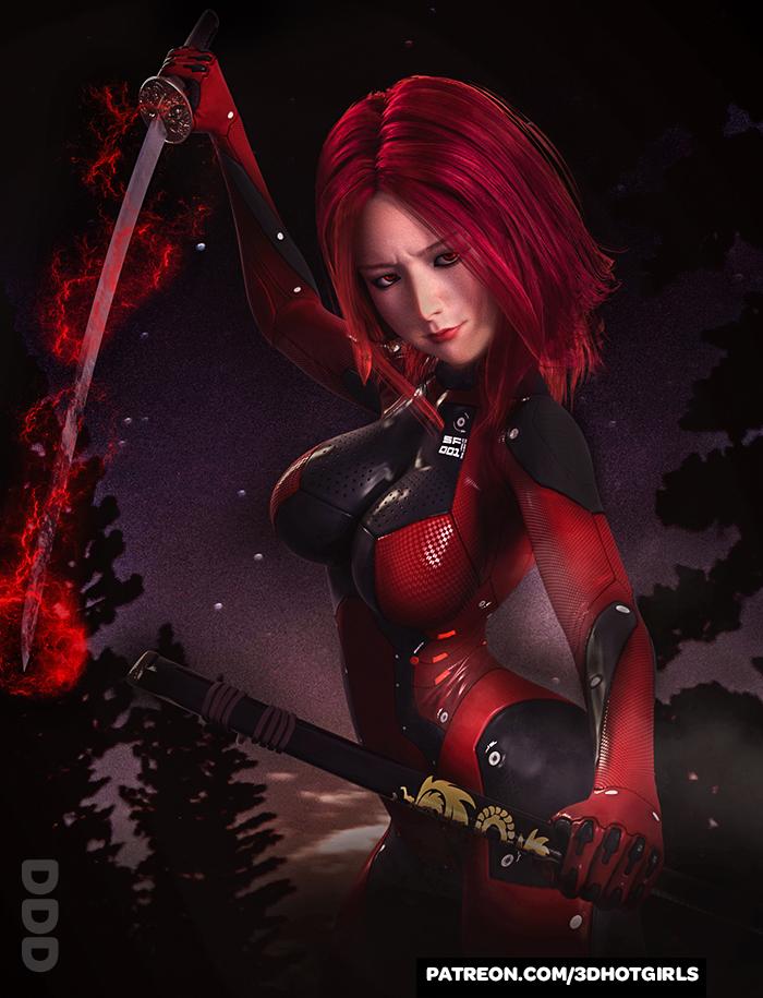 Sexy Sci-Fi Girl Hana Ready To Strike