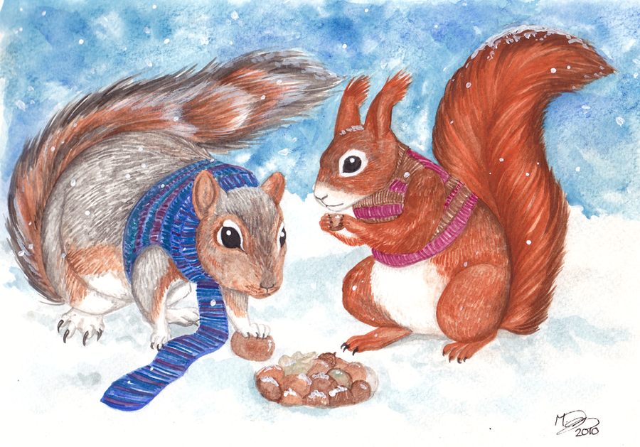 Squirrels Winter Storage by Kitsune--Rin