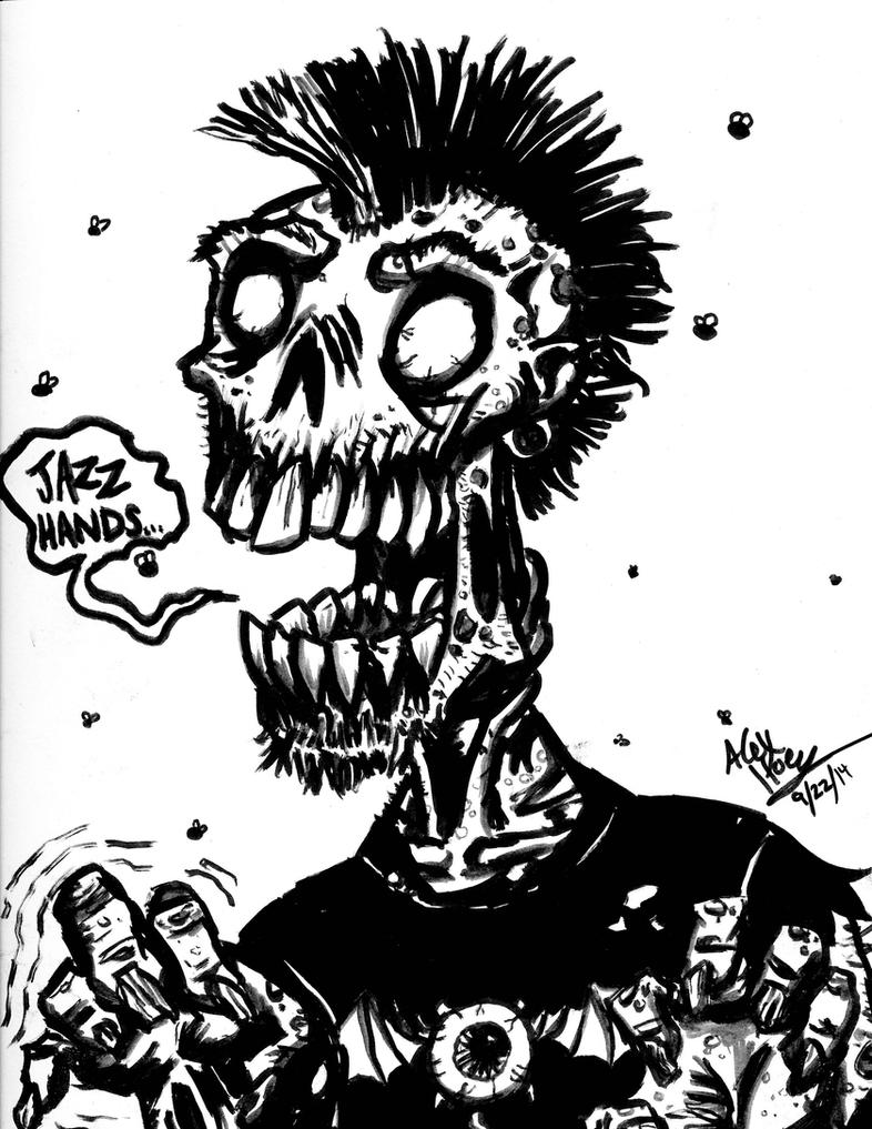Black and White - Punk Zombie by AlexHoey