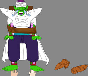 Piccolo Jr.'s bare feet tickled by Jinta and Ururu
