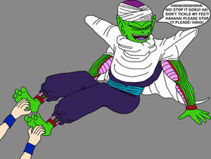 Piccolo Jr. having his bare feet tickled by Goku