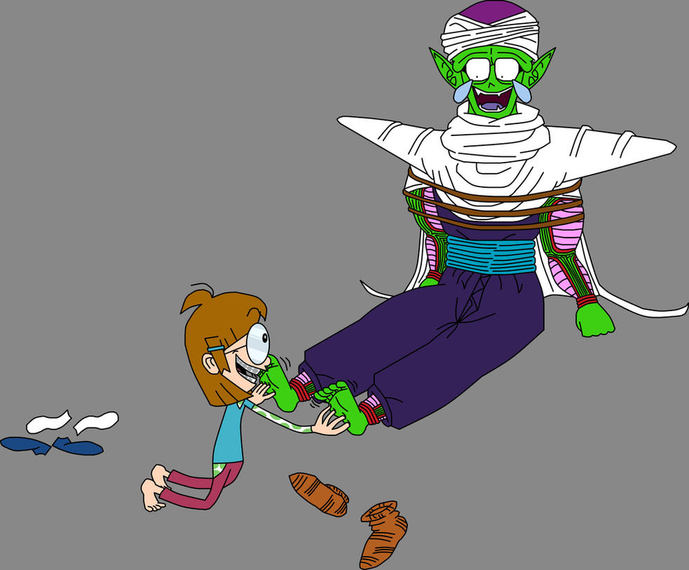 Piccolo Jr. tickled by Barefoot Wacky Jackie by DragonBallFan2012