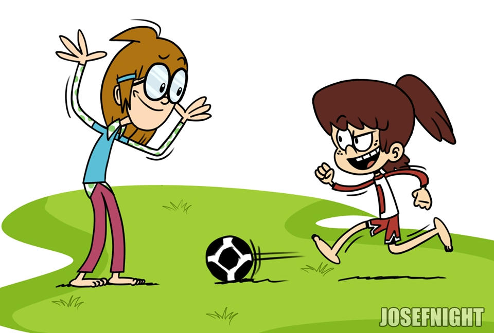 Wacky Jackie and Lynn playing soccer barefoot