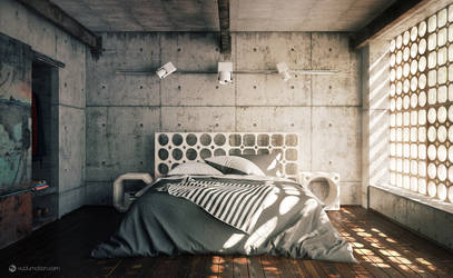 Industrial Bedroom by vudumotion