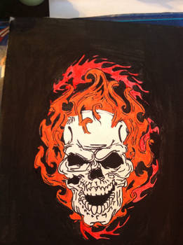 Flaming skull painting