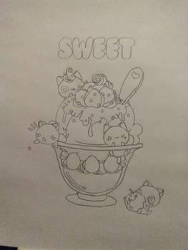 cute kawaii kitties in bowl of ice cream,