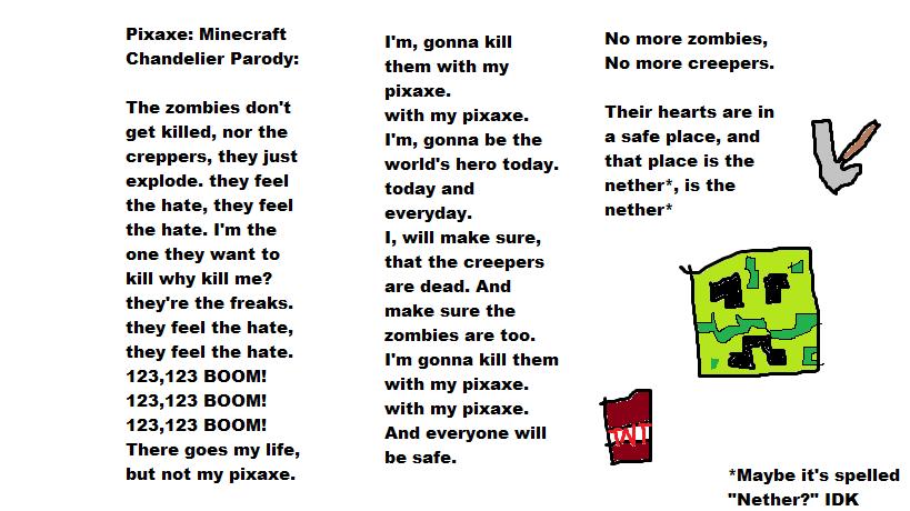 Minecraft Pixaxe Chandelier Parody Lyrics By Amyrose376 On