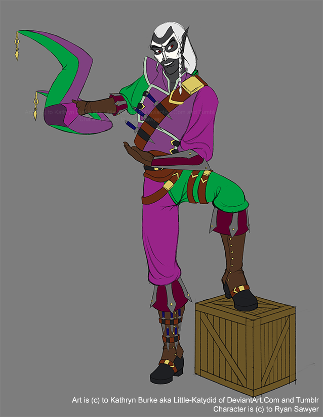 Harlequin Drow Comission: flat colors by Little-Katydid